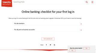 Online banking: checklist for your first log in ... - Vancity Support