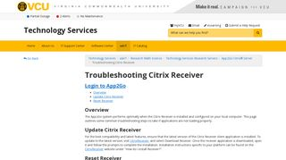 Troubleshooting Citrix Receiver | Technology Services | VCU