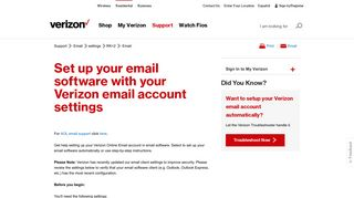 Email Settings - Customer Service   Verizon