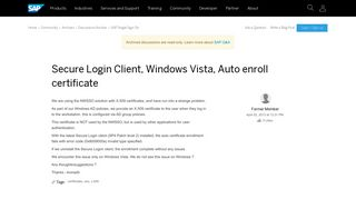 Secure Login Client, Windows Vista, Auto enroll certificate ...