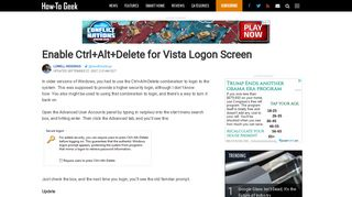 Enable Ctrl+Alt+Delete for Vista Logon Screen - How-To Geek