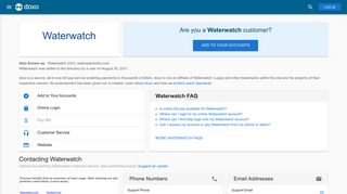 Waterwatch: Login, Bill Pay, Customer Service and Care Sign-In - Doxo
