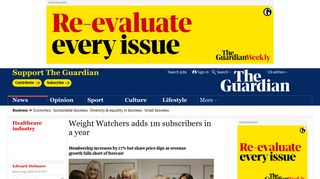 Weight Watchers adds 1m subscribers in a year | Business | The ...