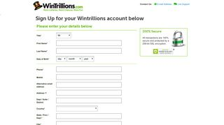 Lottery tickets online | Sign up WinTrillions | WinTrillions