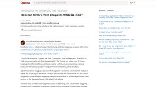 How can we buy from ebay.com while in India? - Quora