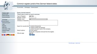 Query (normal search) - Register portal