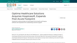 Optima Healthcare Solutions Acquires Hospicesoft, Expands Post ...