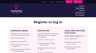 Register or Login – Online Account Management | OneFamily