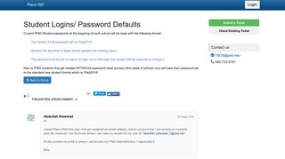 Student Logins/ Password Defaults - Plano ISD