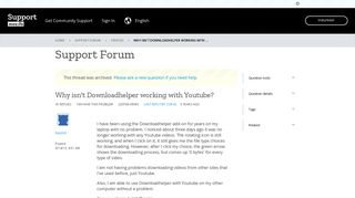 Why isn't Downloadhelper working with Youtube? | Firefox Support ...