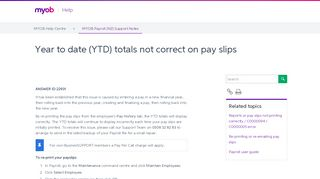 Year to date (YTD) totals not correct on pay slips - Support Notes ...