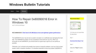 How To Repair 0x80090016 Error in Windows 10 - Windows Bulletin ...
