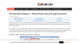 192.168.1.254 - 192.168.l.254 Router Admin Login & Password