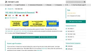 192.168.0.100 Username & Password - 19216811.live