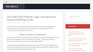 192.168.0.100 IP Router Login, Username and Password Settings Guide