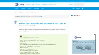 how to reset username and password of 192.168.8.1? | Globe Community