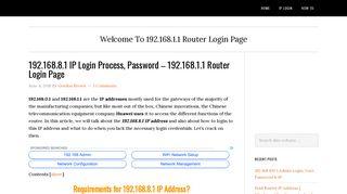 192.168.8.1 IP Login Process, Password - 192.168.1.1 Router Login ...
