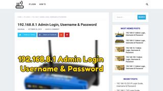 192.168.8.1 Admin Login, Username & Password - Router Login