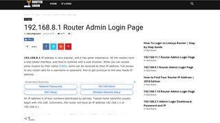 192.168.8.1 Router Admin Login Page - RouterLogin