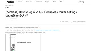 [Wireless] How to login to ASUS wireless router settings page(Blue GUI)