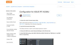 Configuration for ASUS RT-AC68U – OpenDNS
