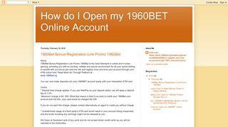 How do I Open my 1960BET Online Account