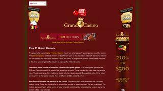 Play 21 Grand Casino – Get $21 No Deposit Bonus