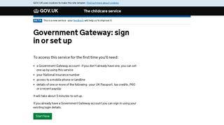 Government Gateway - Childcare service
