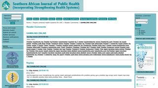 Reader Comments - Strengthening Health Systems