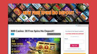 888 Casino - New Free Spins No Deposit
