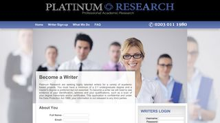 Writer Sign-up - Platinum Research