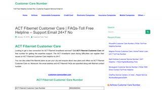 ACT Fibernet Customer Care - Customer Care Number