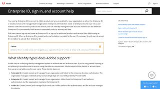 Enterprise ID, sign in, and account help - Adobe Help Center