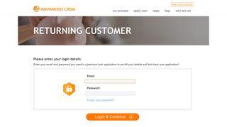Returning customer - Advanced Cash