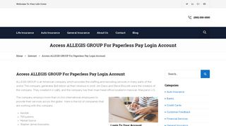 Access ALLEGIS GROUP For Paperless Pay Login ... - Your Life Cover