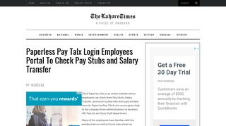 Paperless Pay Talx Login Employees Portal To Check Pay Stubs and ...