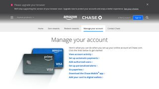 Manage Your Account   Amazon Rewards Card - Chase.com