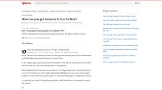 How to get Amazon Prime for free - Quora