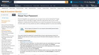 Amazon.co.uk Help: Reset Your Password
