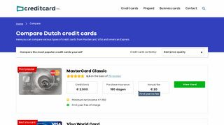 Compare Credit Cards in The Netherlands | Creditcard.nl