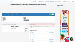 Amped Wireless R10000 Default Router Login and Password