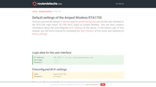 Default settings of the Amped Wireless RTA1750 - routerdefaults.org
