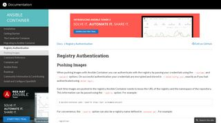 Registry Authentication — Ansible Container Documentation