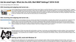 Aol de email login | Access an AOL Email Account With a POP or IMAP ...