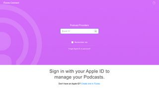 Apple Podcasts - iTunes Connect