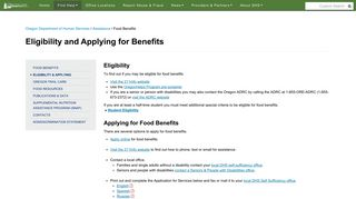 State of Oregon: Food Benefits - Eligibility and Applying for Benefits