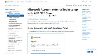 Microsoft Account external login setup with ASP.NET Core ...