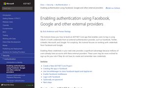 Enabling authentication using Facebook, Google and other external ...