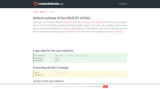 Default settings of the ASUS RT-AC56U - routerdefaults.org