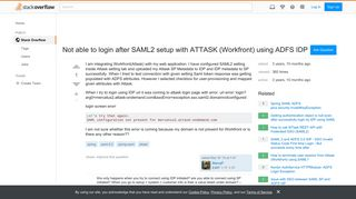 Not able to login after SAML2 setup with ATTASK (Workfront) using ...